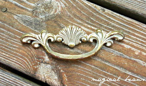 Vintage,Coastal,Cottage,Chic,Gold,&,White,Clam,Shell,Drawer,Pull,in,Solid,Brass,Beach House Decor, coastal clam shell dresser pulls, white gold drawer pulls, coastal furniture pulls, brass drawer pulls, vintage drawer pulls, dresser hardware