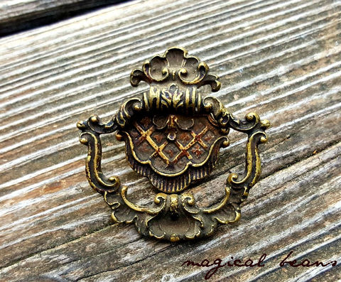 Antique,KBC,Fancy,French,Brass,Ring,Pull,antique drawer pull, brass drawer pull, small antique drawer pull, fancy french drawer pulls, small antique fancy french brass pull, dresser hardware, period hardware, cabinet pulls