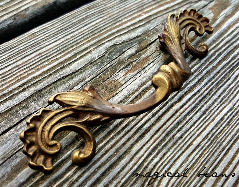 Antique KBC Solid Brass Art Deco Baroque Drawer Pulls  - product images  of