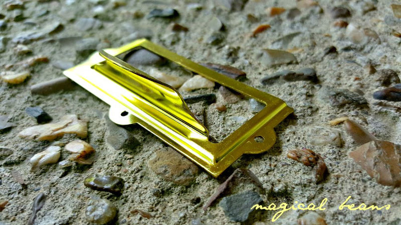 Vintage Gold File Cabinet Card Holder & Drawer Pull  - product images  of
