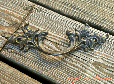 Antiqued,Brass,French,Country,Dresser,Pull,vintage hardware, french provincial, brass drawer pull, French Brass Pulls, vintage brass pulls, large french baroque pull, kbc dresser pulls, keeler brass co period hardware
