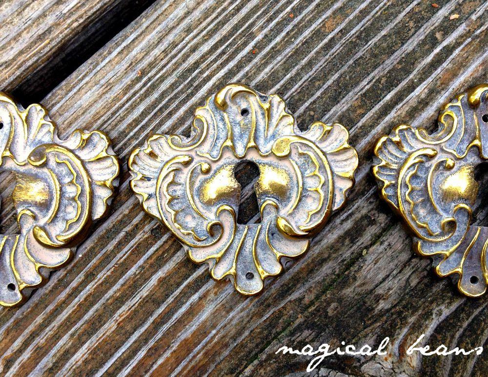 Antique Keeler Brass Co Escutcheon Skeleton Keyhole Back