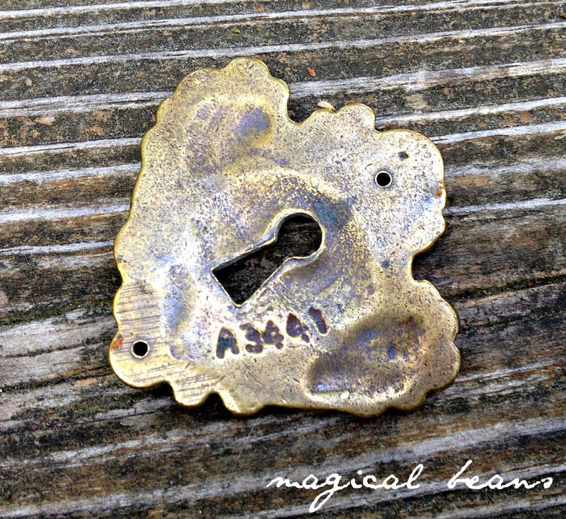 Vintage Keeler Brass Co Escutcheon Skeleton Keyhole Back-plate in Solid Brass  - product images  of