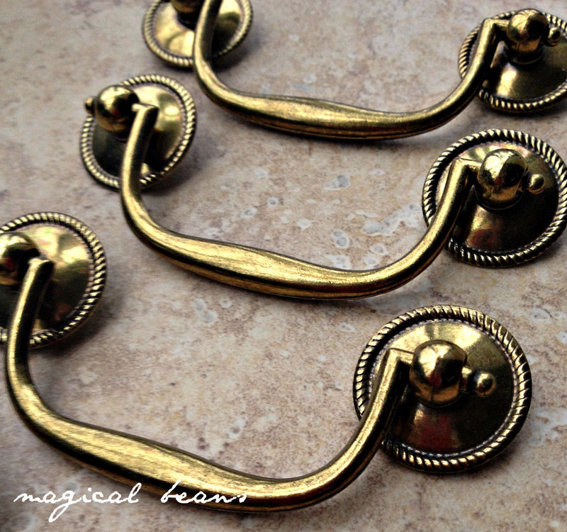 Vintage Brass Drop Pull with Beaded Rosettes by Keeler Brass Co - product images  of