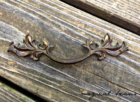 Vintage,Dark,Brass,French,Drawer,Pull,by,Keeler,Co,brass hardware, vintage hardware, french pull, french provincial, brass drawer pull, brass cabinet pull, vintage brass pulls, Victorian pull, dark brass french, keeler brass company, dresser hardware, drawer handles, restoration hardware