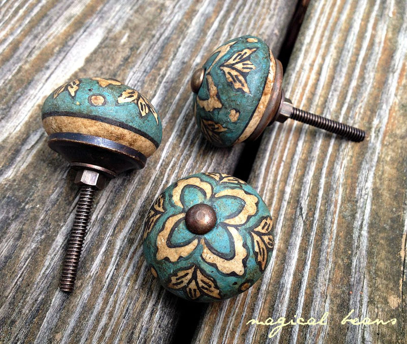 Vintage Inspired Teal Floral Ceramic Drawer Knob  - product images  of