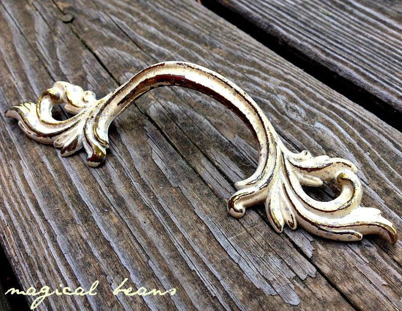 Vintage Victorian Style Solid Brass with Ivory Overlay Leafy Drawer Pull - product images  of