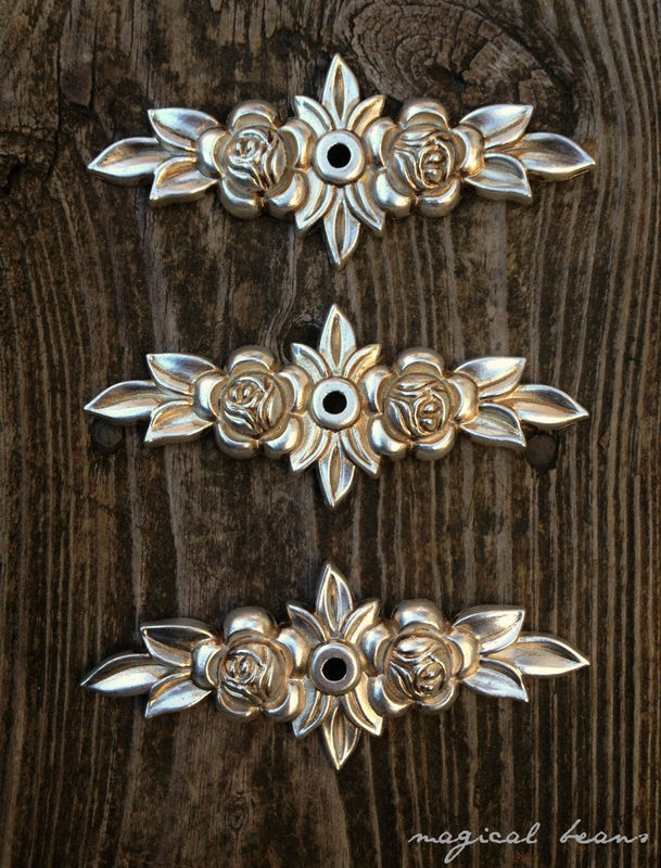 Antiqued Silver Floral Rose Back-Plate for Knobs - product images  of