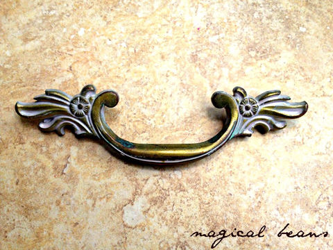 Vintage,Art,Deco,Antiqued,Gold,w/,White,Overlay,Drawer,Pull,in,Solid,Brass,antique brass pull, brass hardware, vintage hardware, french provincial, waterfall dresser, french brass pull, french drawer pulls, Victorian Brass Pull, White Patina, Restoration Hardware, Salvage Drawer Pulls, Authentic Drawer, brass pulls, brass, white