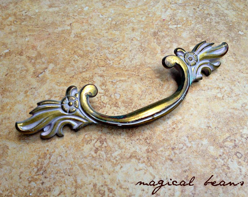 Vintage Art Deco Antiqued Gold w/ White Overlay Drawer Pull in Solid Brass   - product images  of