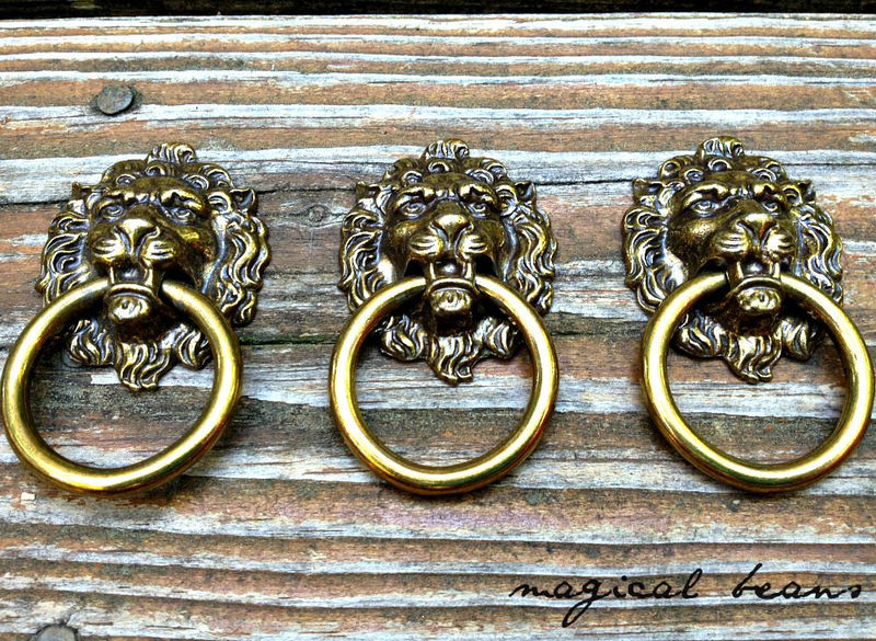 Vintage Solid Brass Lion Head Ring Pull by Keeler Brass Co.  - product images  of