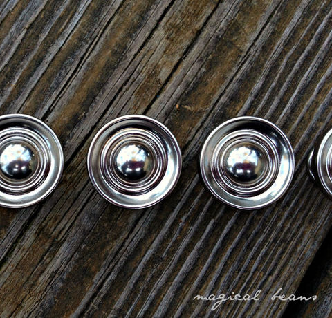 Small,Decorative,Polished,Chrome,Multi,Ring,Knobs,silver drawer knobs, chrome drawer knobs, silver dresser hardware, chrome furniture hardware, multi ring knobs, decorative knobs