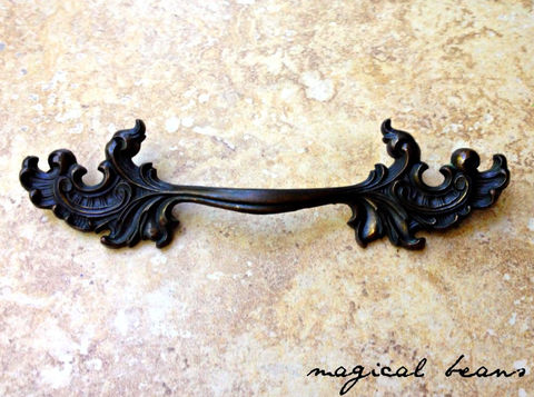 Victorian,Drawer,Pull,in,Solid,Antiqued,Brass,by,Keeler,Co,leafy drawer pulls, french vintage drawer pulls, french provincial, vintage drawer pulls, dark brass dresser hardware, brass drawer pulls, kbc drawer pull handles, keeler Brass Co Period Hardware