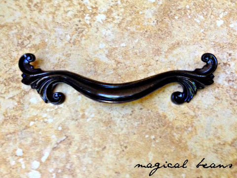 Vintage,Dark,Brass,French,Provincial,Pull,by,Keeler,Co,Dark brass drawer pull, brass drawer pull handle, french vintage dresser drawer pull, keeler brass co, kbc period hardware, vintage drawer pulls, curvy dresser pulls, scroll cabinet handles,