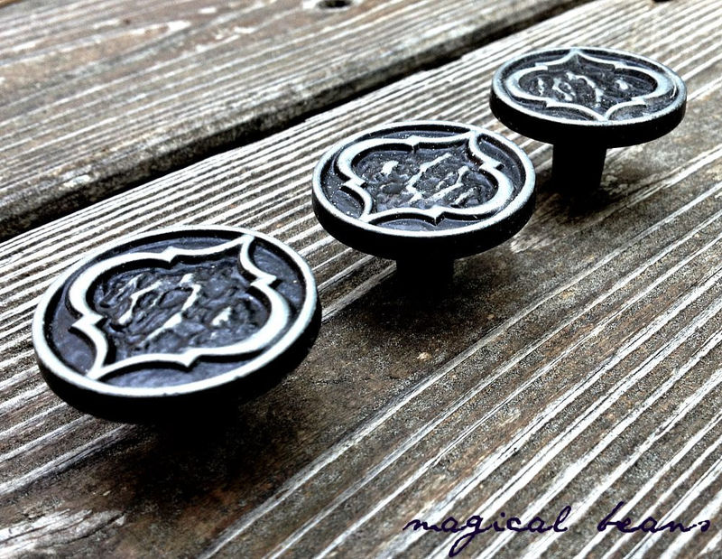 Vintage Amerock Black & Pewter Round Drawer Knobs  - product images  of