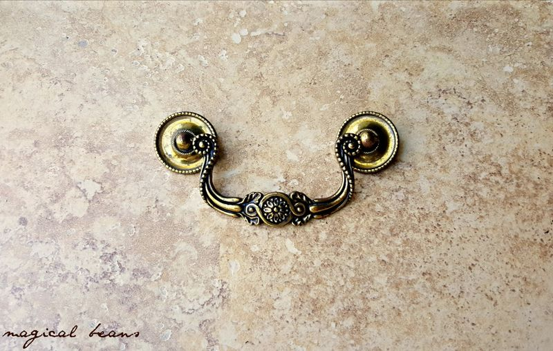 Vintage KBC Baroque Antiqued Gold Drop Bail Pull in Solid Brass - product images  of