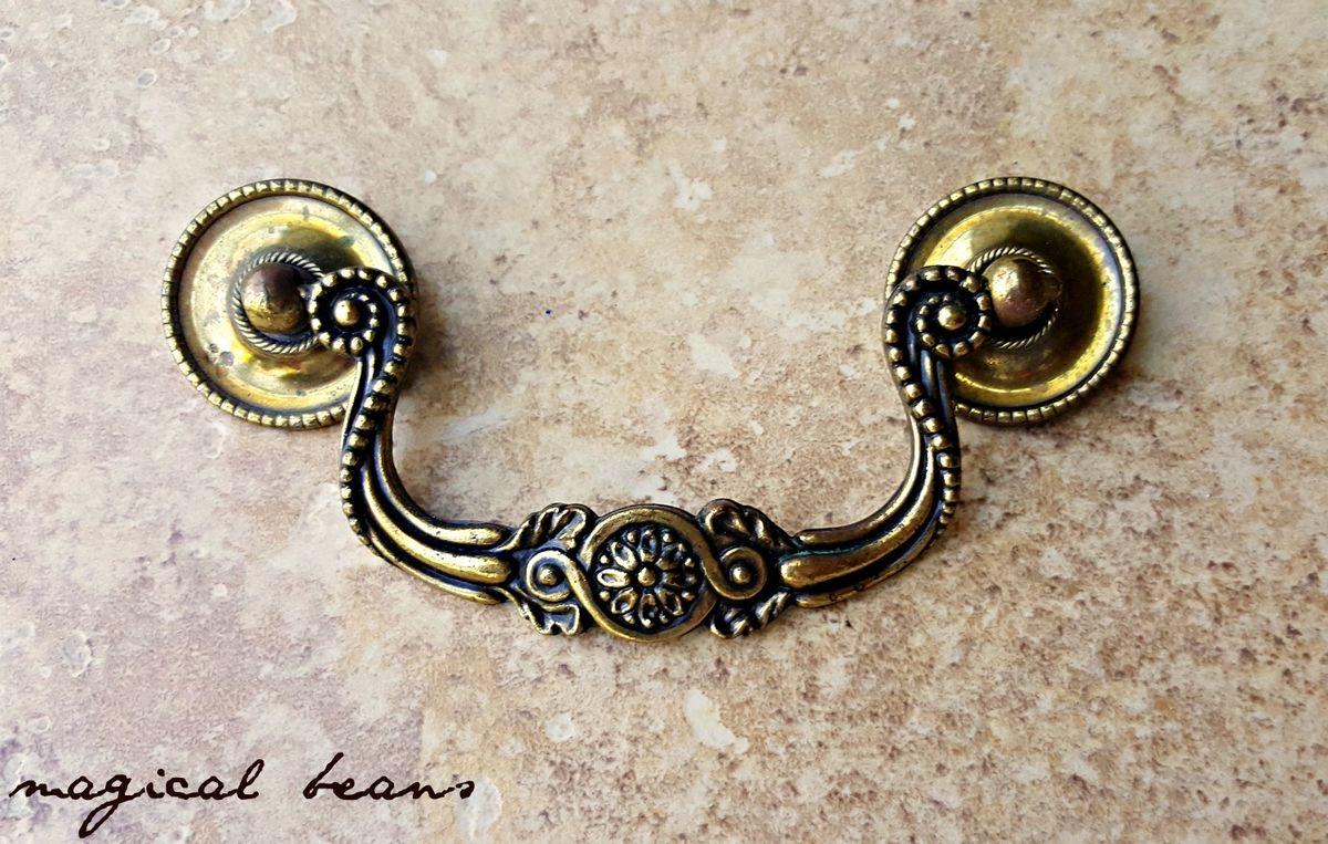 Ornate Solid Brass Drop Bail Pull By Keeler Brass Co