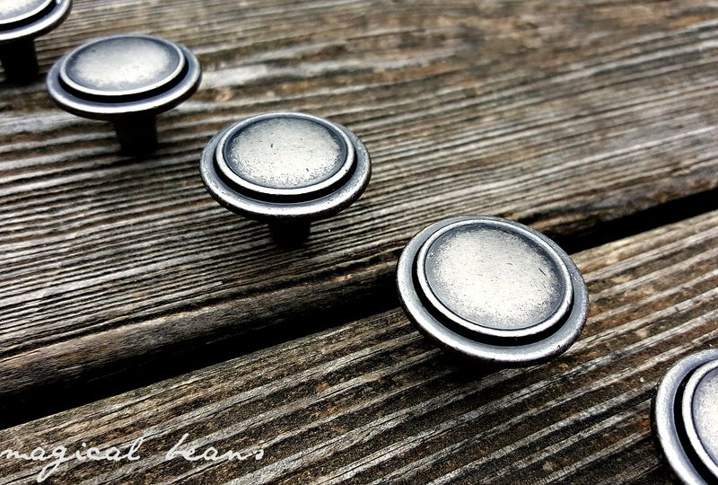 Modern Industrial Farmhouse Weathered Silver Single Ring Furniture - Cabinet Knobs - product images  of