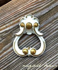 French,Provincial,Stationary,Gold,&,White,Tear,Drop,Pull,vintage hardware, furniture hardware ,antique hardware ,drawer pulls knobs, furniture pulls, pulls knobs, hardware furniture, vintage drawer pulls knobs, brass furniture hardware,  Brass Hardware, Brass Pulls, Brass Cabinet Pulls, Brass Drawer Pulls, Bras