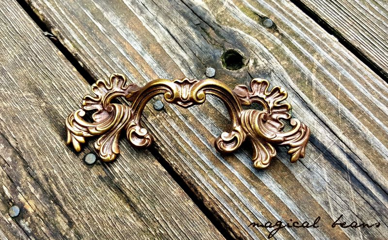 French Provincial Solid Brass Drawer Pull in Bronze  - product images  of