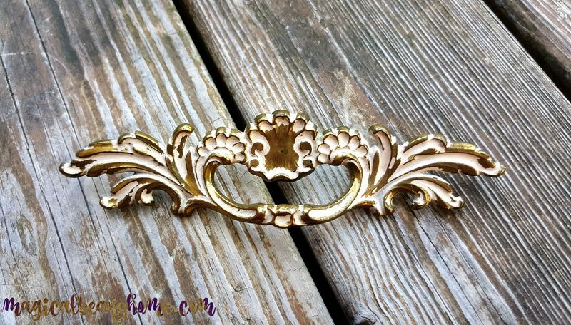 Golden Brass & White French Provincial, Baroque Drawer Pull by Keeler Brass Co  - product images  of