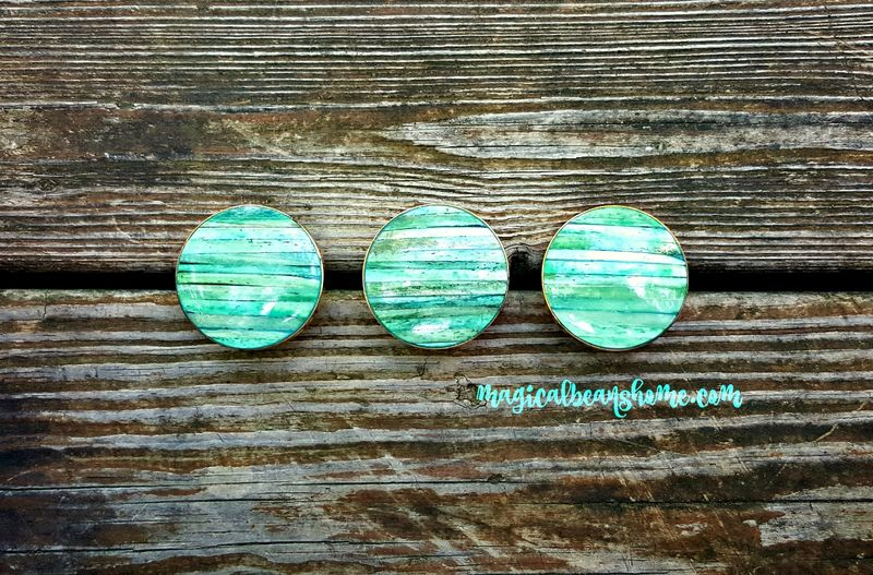Coastal Cottage Teal Blue-Green Knobs w/Shell Inlay & Gold Mounting  - product images  of