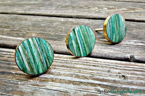 Coastal,Cottage,Teal,Blue-Green,Knobs,w/Shell,Inlay,&,Gold,Mounting,beach house decor, drawer pulls, beach theme, drawer pulls gold, drawer pulls teal blue, drawer pulls shell, drawer knobs, drawer knobs and pulls, drawer knobs gold,  drawer knobs blue, drawer knobs vintage, drawer knobs coastal, drawer knob