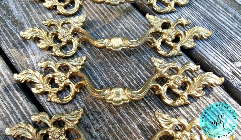 Vintage Keeler Brass Co Gold French Provincial Pulls in Solid Brass  - product images  of