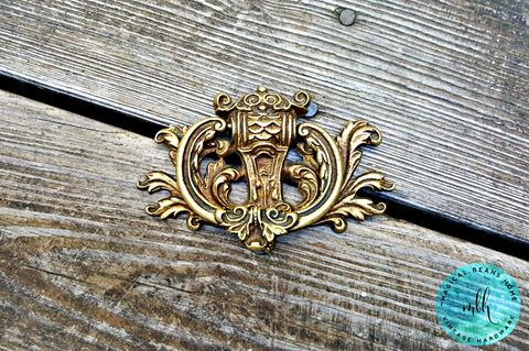 Vintage,Keeler,Brass,Co,Baroque,Antiqued,Gold,Crest,Drop,Bail,Ring,Pull,in,Solid,vintage hardware, vintage drawer pull, keeler brass co, period hardware, restoration hardware, gold drop pull, brass drawer pull, baroque drawer pull, large cabinet pull