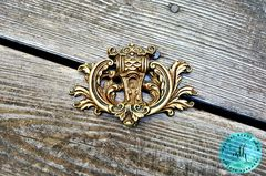 Vintage,Keeler,Brass,Co,Regal,Drop,Pull,in,Bright,Solid,vintage hardware, vintage drawer pull, keeler brass co, period hardware, restoration hardware, gold drop pull, brass drawer pull, baroque drawer pull, large cabinet pull