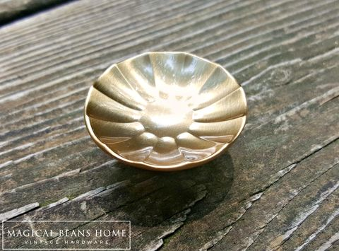 Mid,Century,Modern,Soft,Gold,Fluted,Dresser,Knob,mid century modern knobs, retro knobs, cabinet knobs, gold knobs, soft gold drawer knobs, furniture hardware, cabinet hardware, vintage knobs, dresser drawer pulls