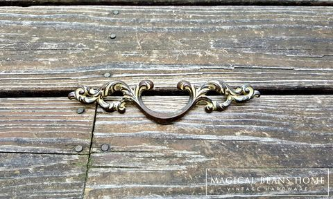 Vintage,French,Country,Dark,Brass,Drawer,Pulls,by,Keeler,Co,Vintage Drawer Pulls, Vintage Hardware, French Vintage Decor, French County Drawer Pulls, French Provincial pulls, brass drawer pulls, leafy scroll pulls, keeler brass co, period hardware, dark brass pulls, dark brown drawer handles, cabinet pulls