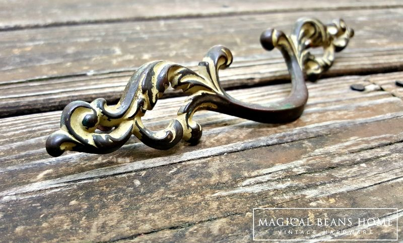 Vintage French Country Dark Brass Drawer Pulls by Keeler Brass Co  - product images  of