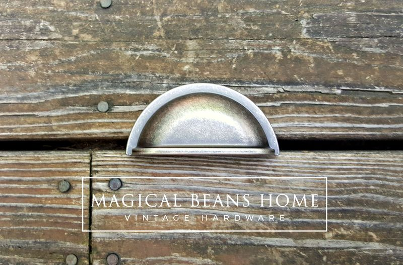 Rustic, Country, Industrial Farmhouse Style Decorative Weathered Silver Bin Cup Pulls in Distressed Nickel  - product images  of