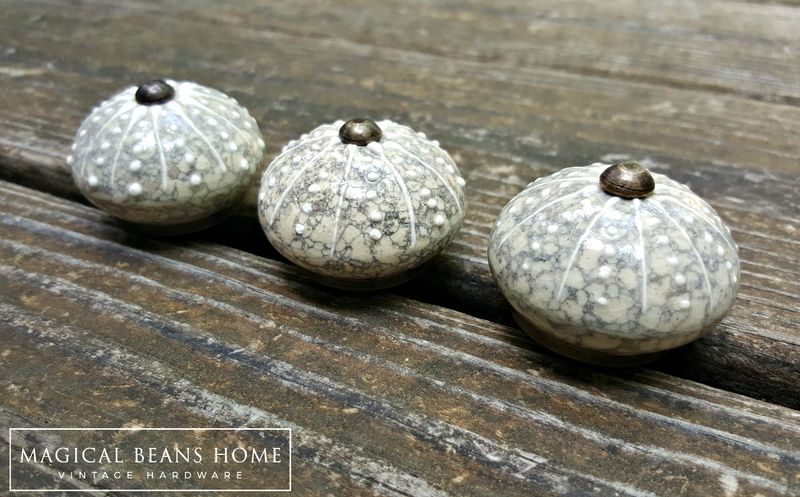 Coastal Style Round Ceramic Knob in Sand w/Grey & White Accents - product images  of