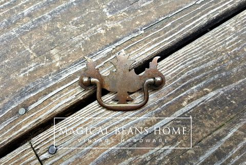 Vintage,Rustic,Federal,Style,Drawer,Pull,in,Pressed,Metal,rustic drawer pulls, vintage drawer pull, pressed metal drawer pulls, dresser hardware, federal style pulls, chippendale drawer pulls, victorian style pulls, drop bail pulls, charcoal colored dresser hardware