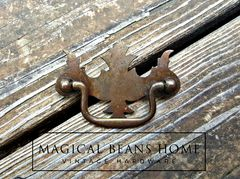Vintage Rustic Federal Style Drawer Pull in Pressed Metal  - product images 3 of 5