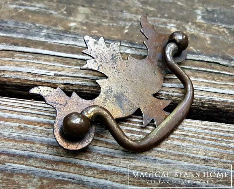 Vintage Rustic Federal Style Drawer Pull in Pressed Metal  - product image
