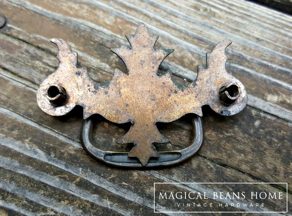 Vintage Rustic Federal Style Drawer Pull in Pressed Metal  - product images  of