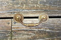 Vintage,KBC,Gold,Baroque,Drop,Bail,Pulls,w/Rosettes,in,Solid,Brass,brass rosettes and bail pull, vintage drawer pulls, drop bail pulls, solid brass furniture hardware, keeler brass co, period hardware, bail pull and rosettes, gold drawer pulls, dresser hardware, baroque style pulls,