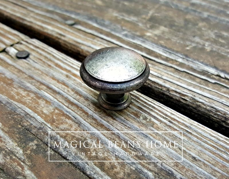 Weathered Nickel Rustic Farmhouse Drawer Knobs in Distressed Silver & Black - product images  of