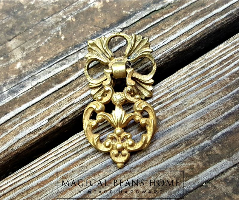 French Vintage Solid Brass Filigree Teardrop Pull by Keeler Brass Co  - product image