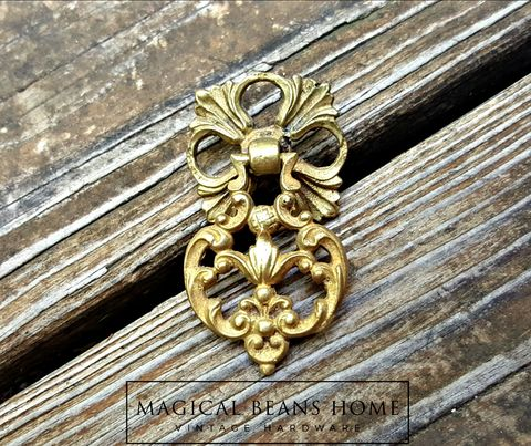 French,Vintage,Solid,Brass,Filigree,Teardrop,Pull,by,Keeler,Co,vintage drawer pulls, teardrop drawer pulls, pendant drawer pulls, vintage hardware, furniture hardware, dresser hardware, gold drawer pulls, antiqued brass drawer pulls, brass dresser handles, filigree dresser pull, french vintage style, french vintage d