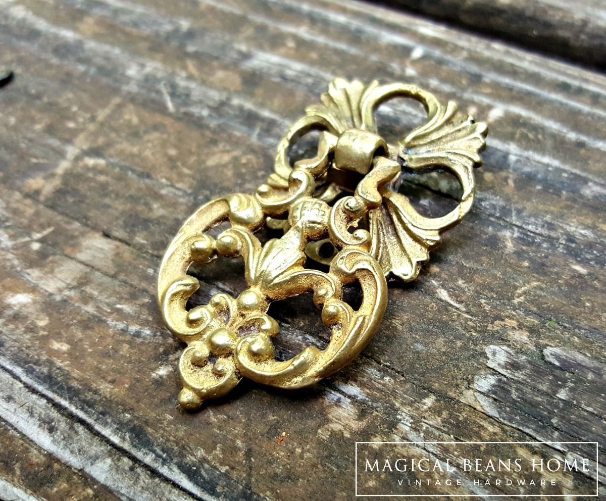 French Vintage Solid Brass Filigree Teardrop Pull by Keeler Brass Co  - product images  of
