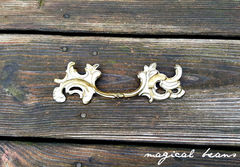Vintage,KBC,French,Provincial,Gold,&,Ivory,Pulls,in,Solid,Brass,magical beans home, magicalbeanshome, brass hardware, brass drawer pulls, vintage hardware,vintage drawer pulls, french provincial drawer pulls, french vintage pulls, furniture hardware, dresser hardware, ivory drawer pulls, gold  drawer pulls, kbc drawer