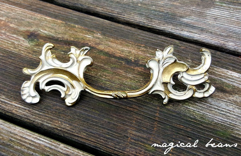 Vintage KBC French Provincial Gold & Ivory Pulls in Solid Brass   - product images  of