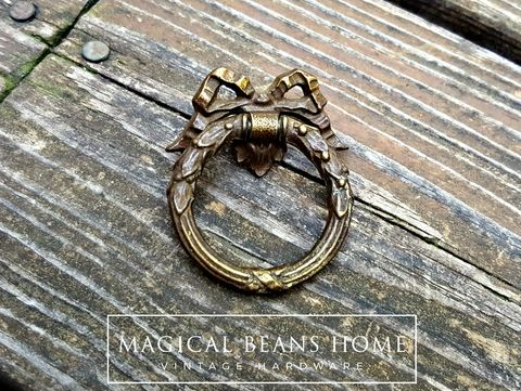 KBC,Vintage,Victorian,Romantic,Ribbon,&,Bow,Dark,Brass,Ring,Pull,brass ring pull, romantic ring pulls, ribbon and bow ring pulls, victorian drawer pulls, vintage ring pull, kbc ring pull, keeler brass co period hardware, furniture pulls, Dark brass furniture hardware, brass drawer pulls,
