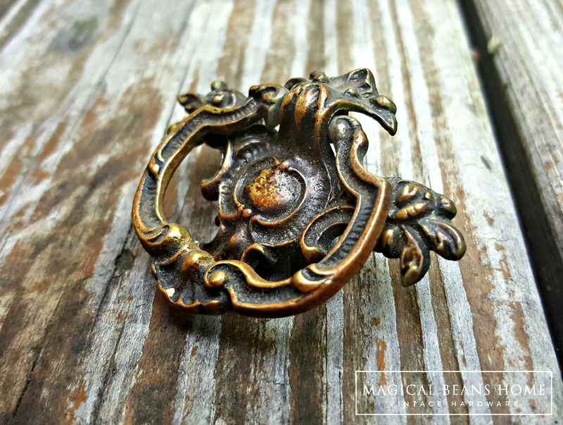 KBC Vintage Victorian Drop Pull in Dark Brass  - product images  of