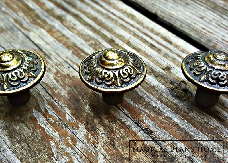 Vintage Victorian Styled Solid Antiqued Brass Knobs  - product images  of