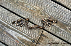 French Vintage Dark Brass Provincial Drawer Pull  - product images 4 of 5